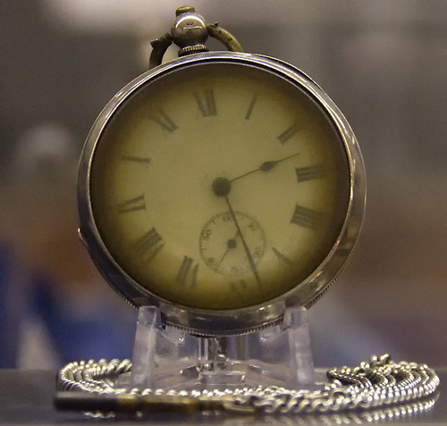 From a Titanic exhibition at Southampton – a retrieved fob watch from an unknown passenger, that had stopped at the approximate time that the ship went down on that fateful night on April 15 1912 at 02:20.