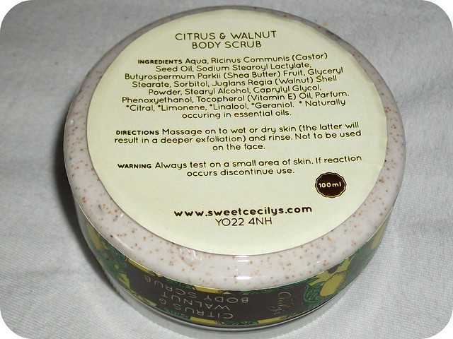 Sweet Cecily's Citrus & Walnut Body Scrub Ingredients