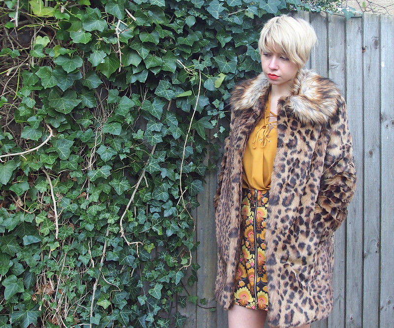 Lace-Up Blouse, Shirt, Mustard, Primark, Geo Print Mini Skirt, Zip Up Front, 70s, 60s, River Island, ASOS, Faux Fur Leopard Print Coat, Peter Pan Collar, Very, How to Wear, Sam Muses, UK Fashion Blog, London Stylist, Style Blogger, AW15, Style Inspiration, Outfit Ideas