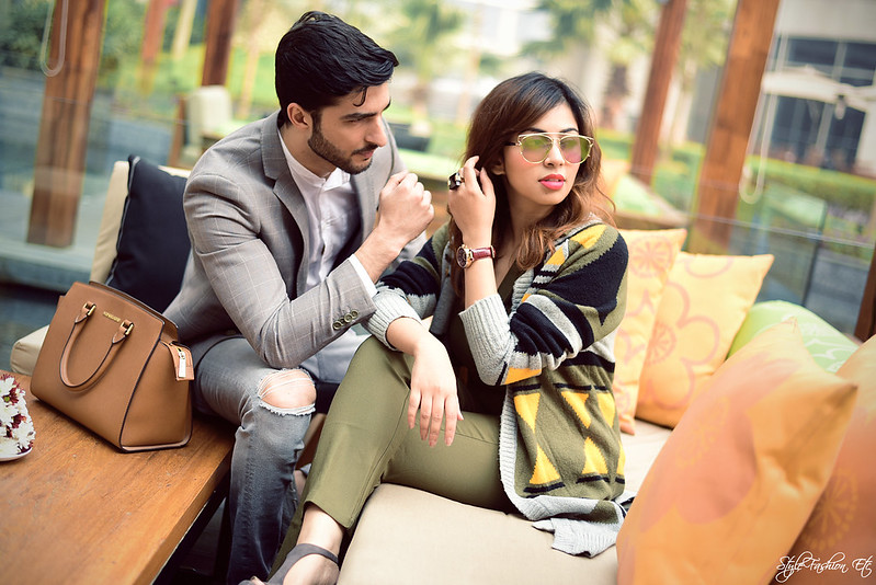 Srish Rohman Shawl jw marriott THE GRATEFUL THREAD Prince Of Wales Check Suit Jacket Vero Moda Koovs Michael Kors Zara Couple Office look newlook jumpsuit cardigan fall fashion shoot Lenskart vincent chase sunglasses reflectors