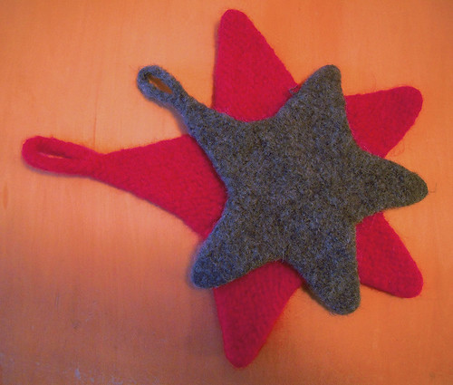 Felted Star-shaped potholders