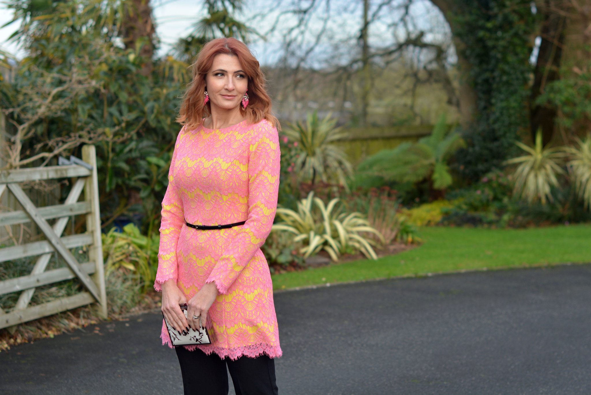 Not Dressed As Lamb | Pink and yellow lace French Connection dress layered over black cropped trousers