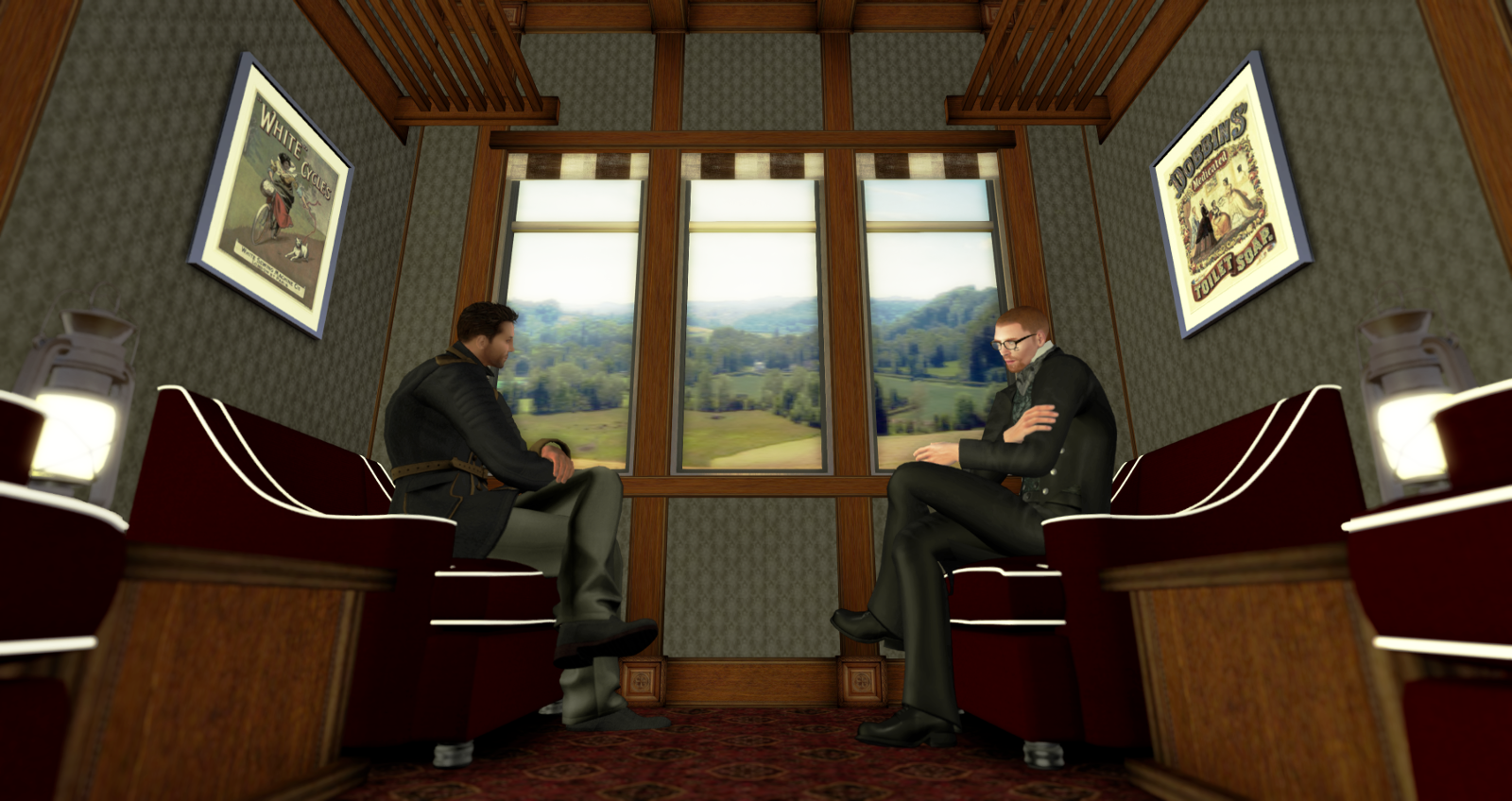 Gentlemen talk in the saloon car