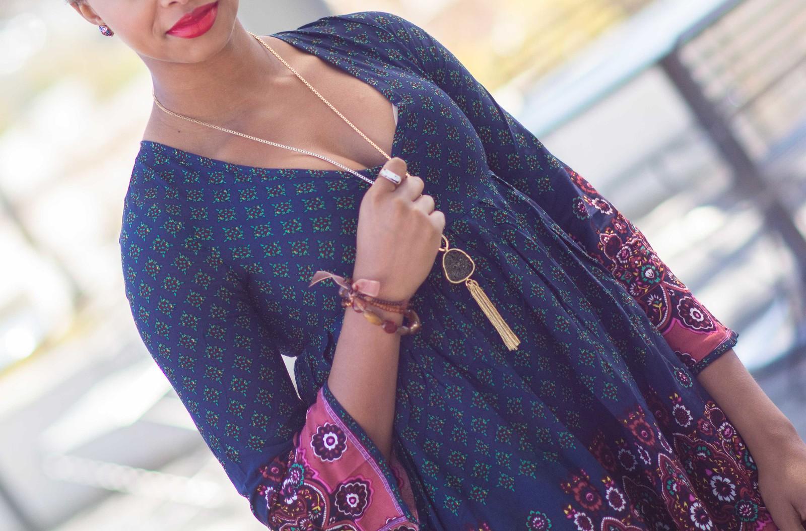 black druzy necklace fringe necklace