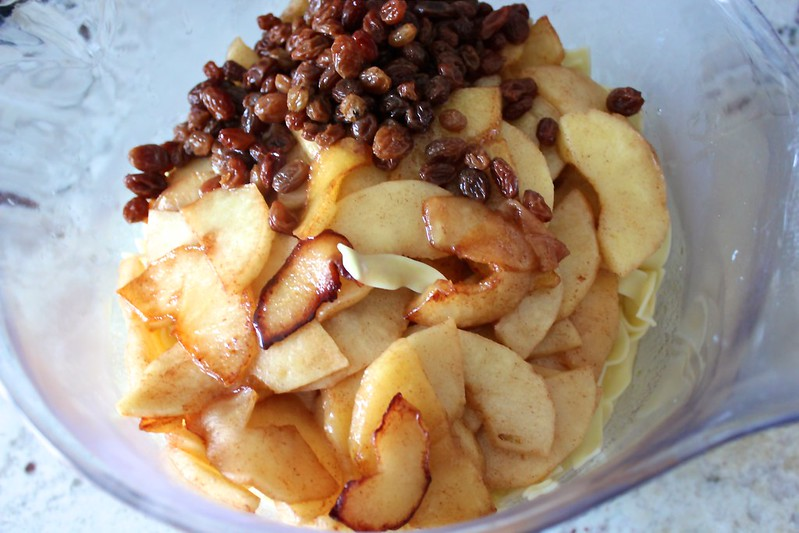 Sweet Apple Noodle Kugel with Pickled Raisins