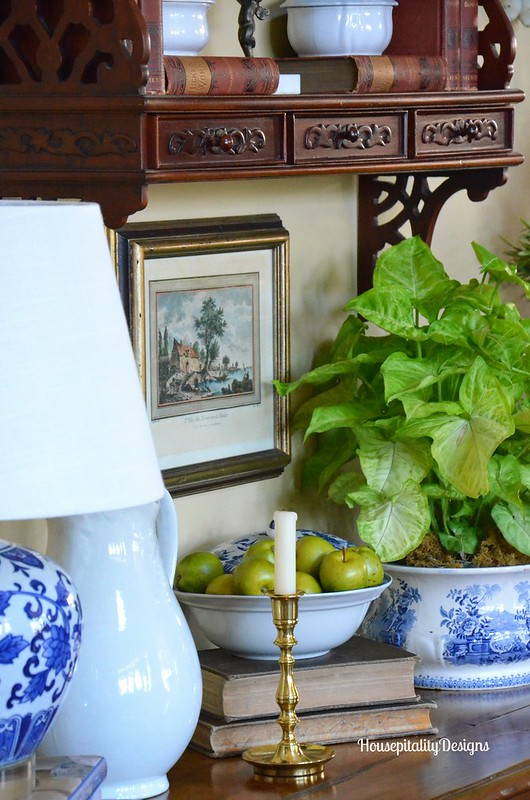 Great Room Blue and White Vignette - Housepitality Designs