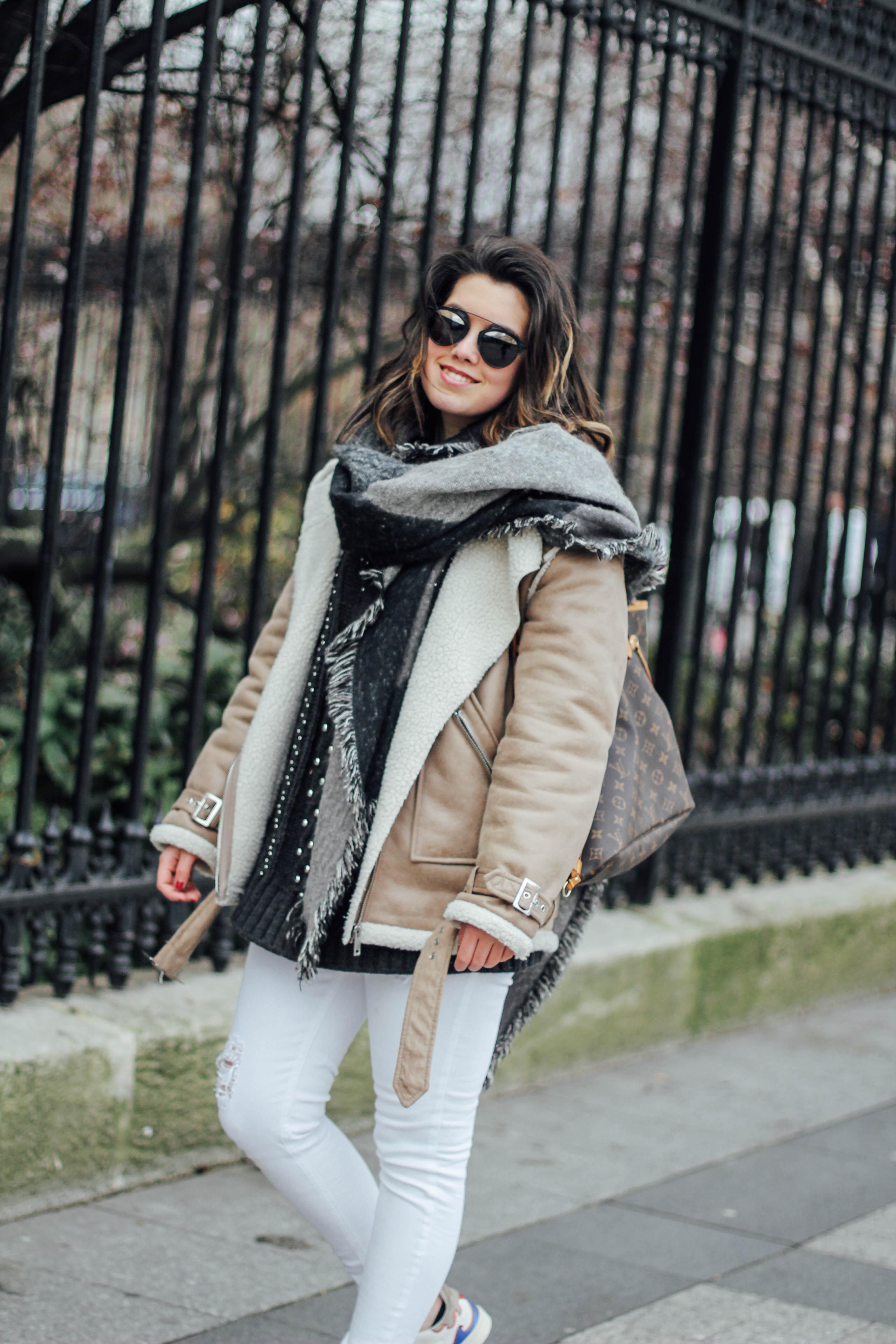 shearling-jacket-beige-isabel-marant-sneakers-streetstyle big scarf myblueberrynightsblog