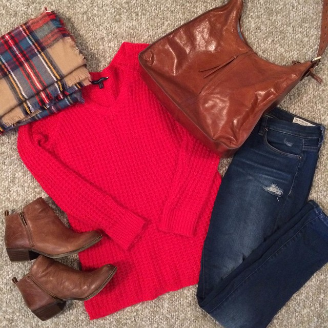 red sweater + plaid blanket scarf + leather booties + distressed skinny jeans + leather hobo bag