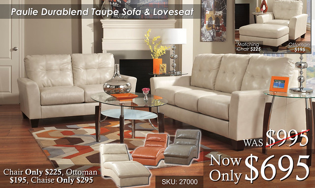 Paulie Durablend Taupe Living Set