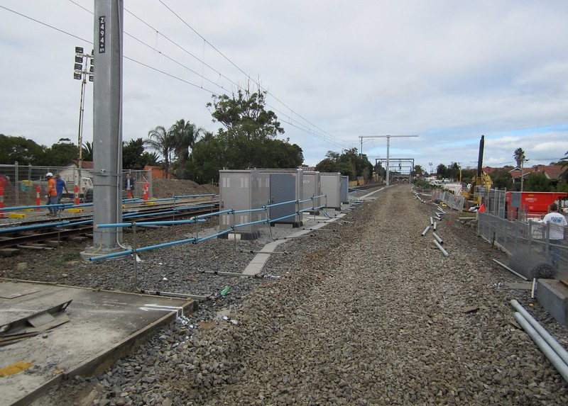 Bentleigh - Third track removed during level crossing removal works