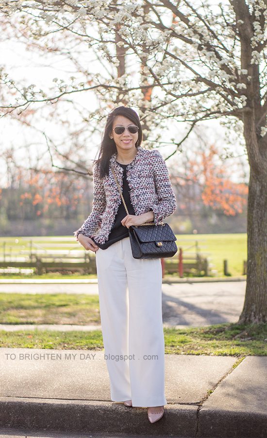 tweed jacket, white trousers, black crossbody bag, nude pumps