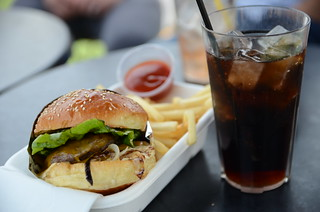 Double All Day Burger AUD13, chips AUD3, Coke AUD3.50 - Rooftop Burger Shack, Melbourne - D7000