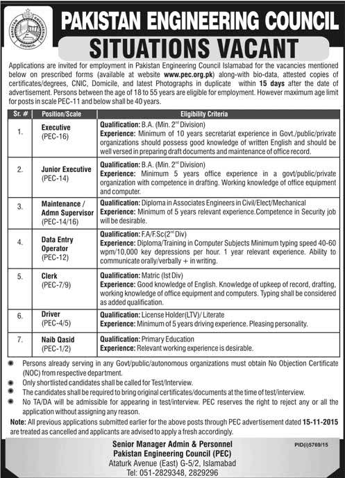 Pakistan Engineering Council Situation Vacant Adv2