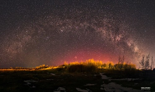 Milky Way and red Aurora.