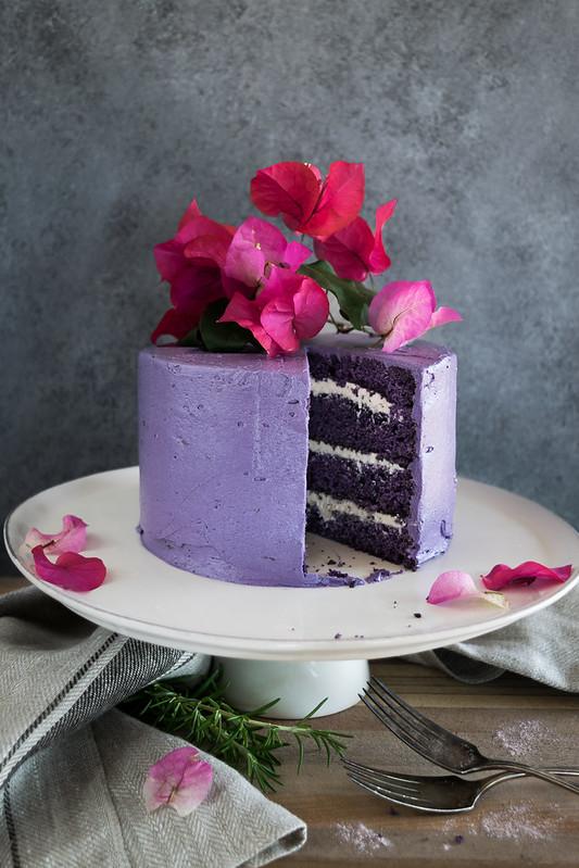 ube cake with vanilla marshmallow cream