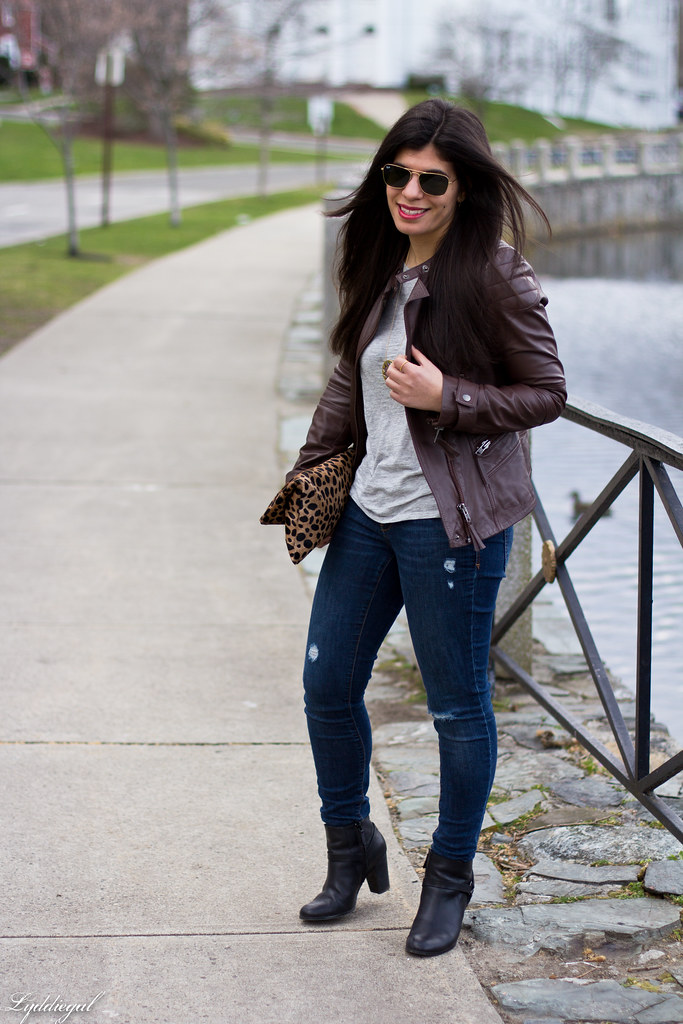 grey tee, brown leather jacket, leopard clutch-1.jpg