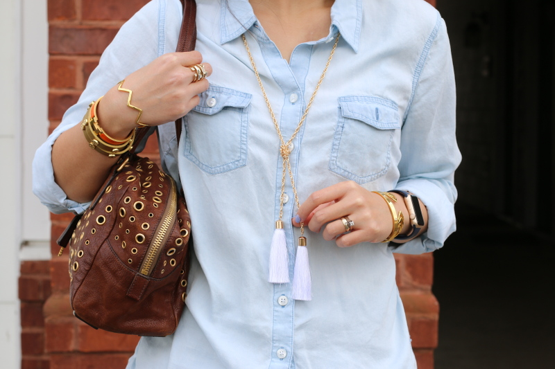 Chambray-button-down-shirt-tassel-necklace-6