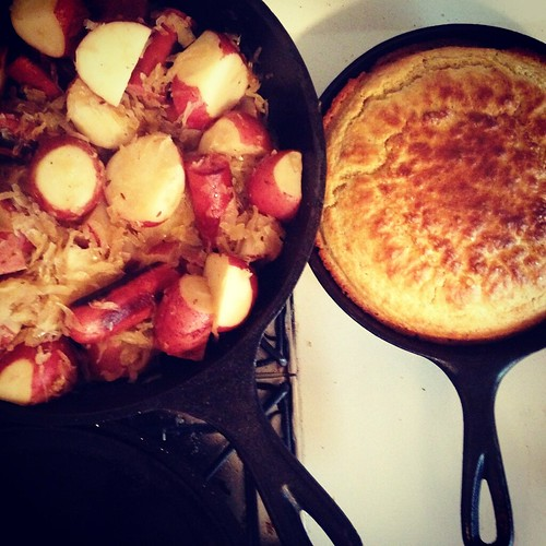I forgot, I made this last night. Sauerkraut, kielbasa with new potatoes and cornbread. :)