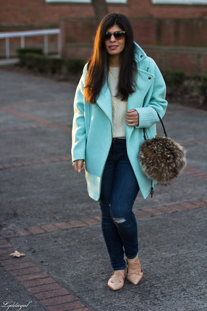mint cocoon coat, white sweater, denim, fur bag-3.jpg