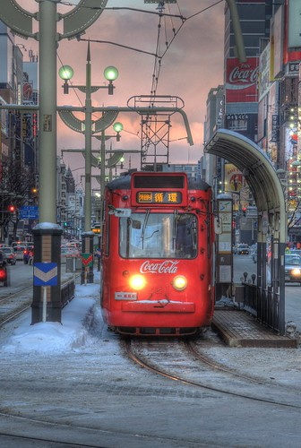 Tramcar with CocaCola ad. or 221 of Sapporo on DEC 29, 2015 (9)