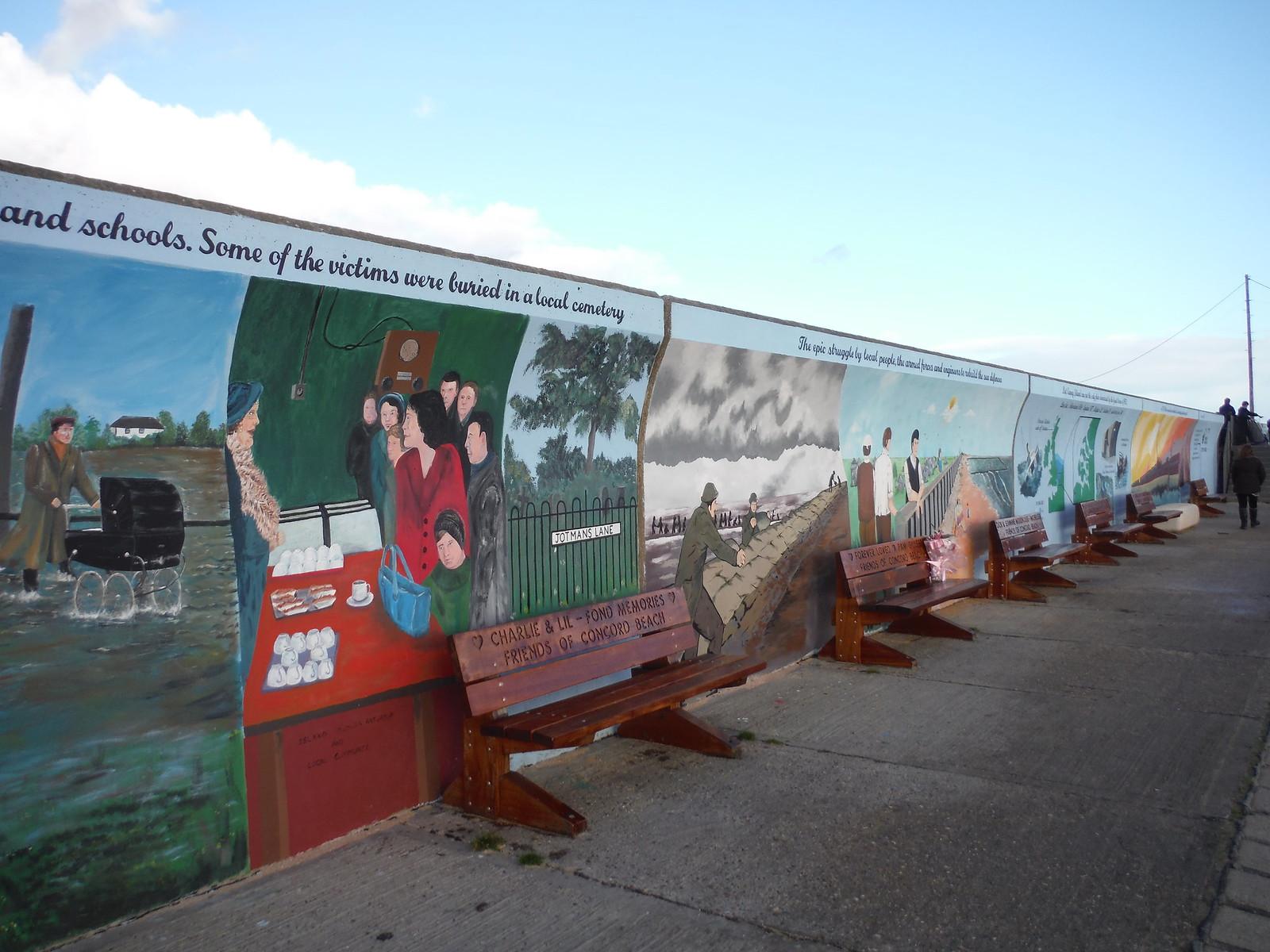 Easterly part of giant 1953 flood mural, Concord Beach, Canvey Island SWC Walk 258 Benfleet Circular (via Canvey Island)