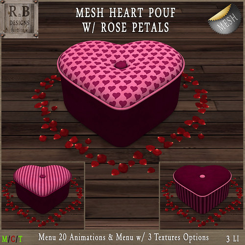 RnB Mesh Heart Pouf w Rose Petals (20 Anims) - Pink