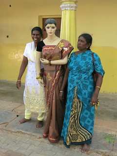 posing with mannequin, Mysore Palace