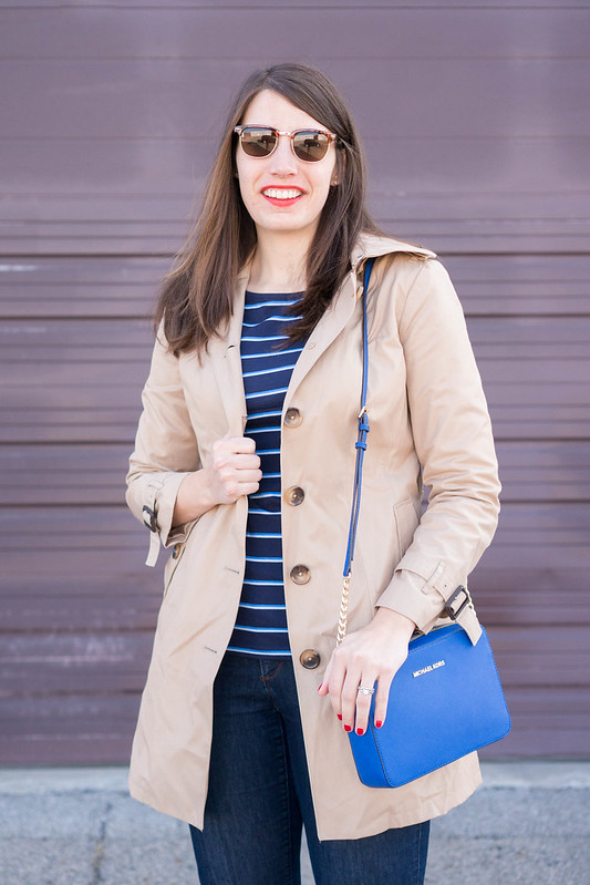 trench coat + Target stripe tee + Michael Kors purse + Loft jeans; Style On Target; spring casual outfit