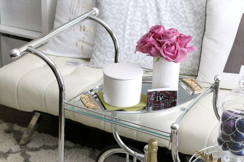 how-to-style-a-bar-cart-roses-candle