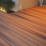 DuraLifeSiesta decking in Golden Teak (night shot)