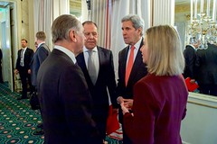 U.S. Secretary of State John Kerry speaks with United Nations Deputy Secretary-General Jan Eliasson, Russian Foreign Minister Sergey Lavrov, and European Union High Representative for Foreign Affairs Federica Mogherini on February 12, 2016, at the Bayerischer Hof Hotel in Munich, Germany, before the Quartet Principals Meeting - from the United States, Russia, European Union, and United Nations - on the sidelines of the Munich Security Conference. [State Department photo/ Public Domain]