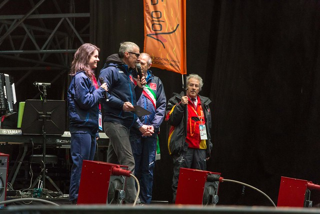 The mayor of Turin and the girl who sang the Italian hymn during the opening ceremony