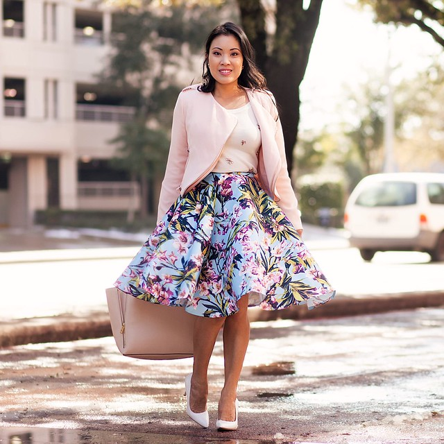 cute & little blog | blue pink floral middi skirt, pink crop jaket, embellished sweater | spring outfit