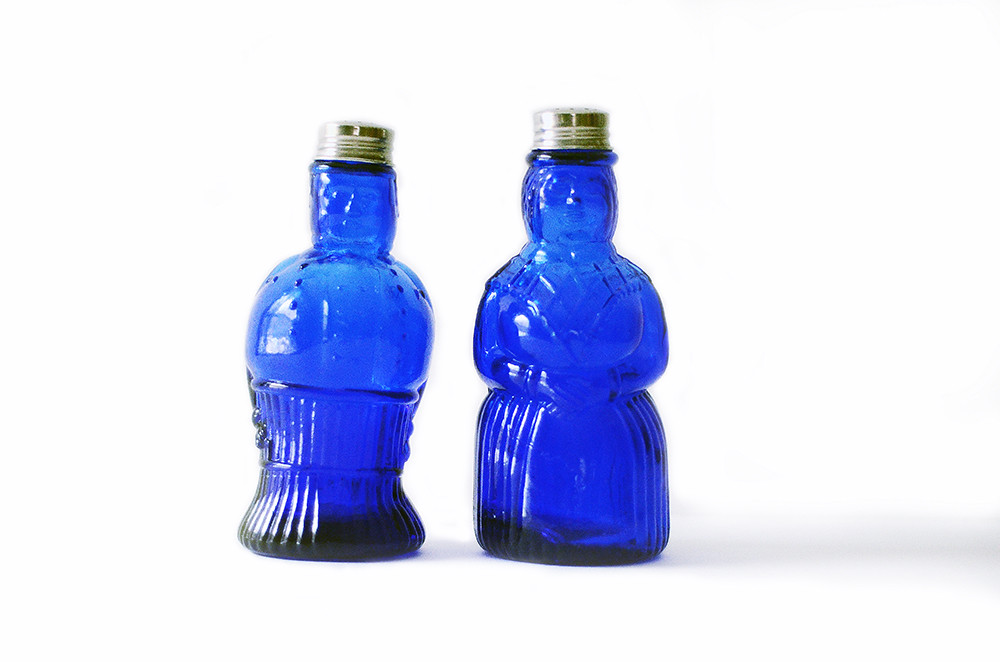 Vintage Cobalt Blue Man and Woman Figurine Salt and Pepper Shakers