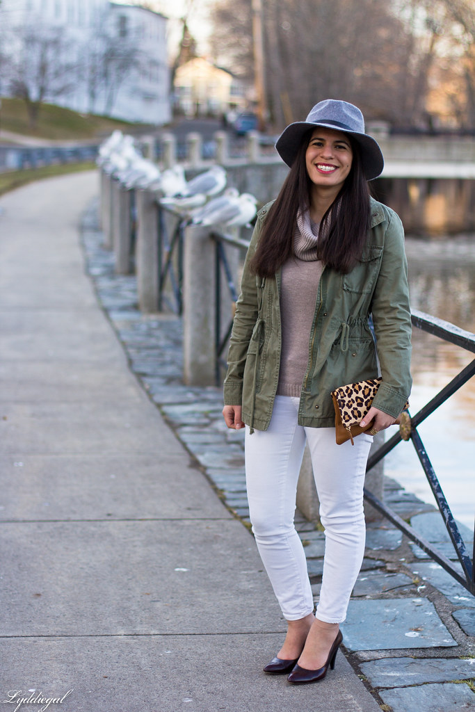 camel sweater, white jeans, field jacket, grey fedora-1.jpg