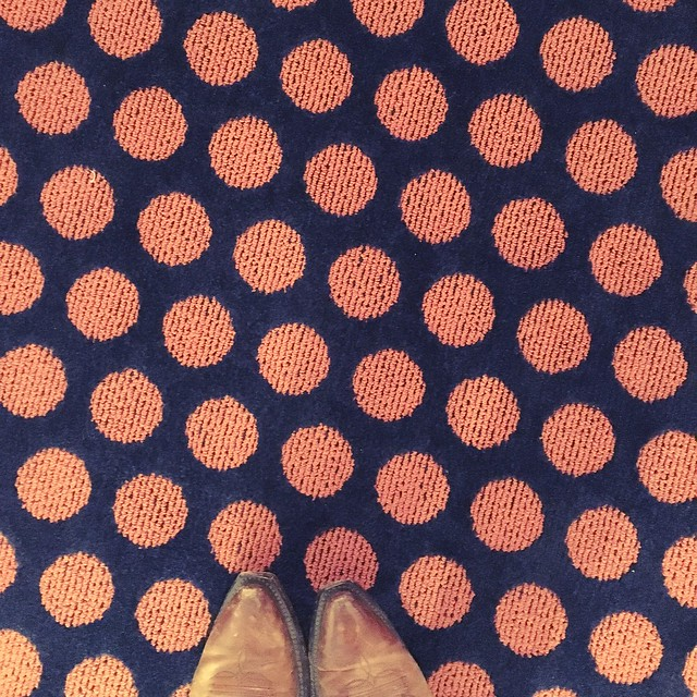 pink and navy polka dot floors