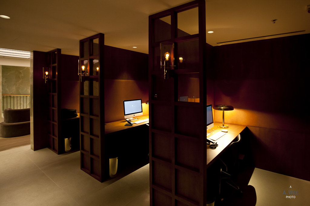 Wood panelled workstations