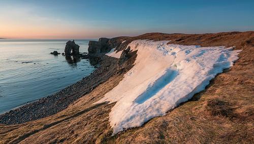 sunset snow beach landscape coast iceland husavik rockstack rockarch northiceland gatanöf gatanof
