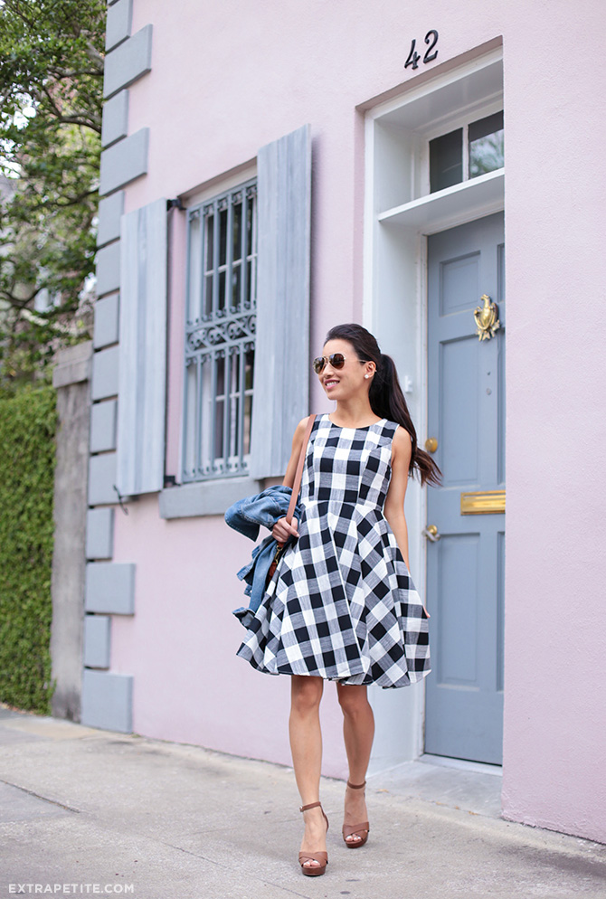 black white check spring dress_petite fashion blog