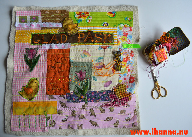 Re-Purposed Cross Stitch on Easter Quilt - WIP by iHanna