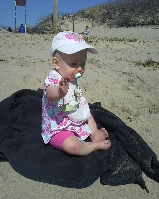 We had baby sunscreen but no blanket so my jacket took the fall. 04.17.2016 #Peyton #peytonsfirsts #Peytonsfirstbeachday #SandyHook