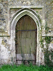 A 14th C. doorway, the Church of St Andrew, Cotton, Suffolk, England