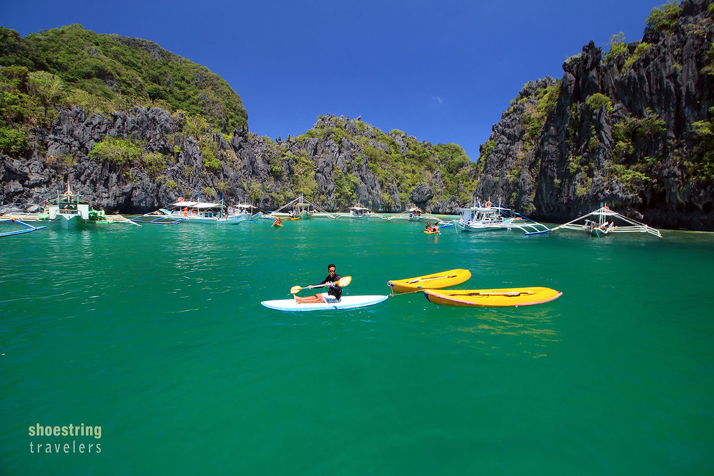 kayaks at the entrance to Small Lagoon in Miniloc Island
