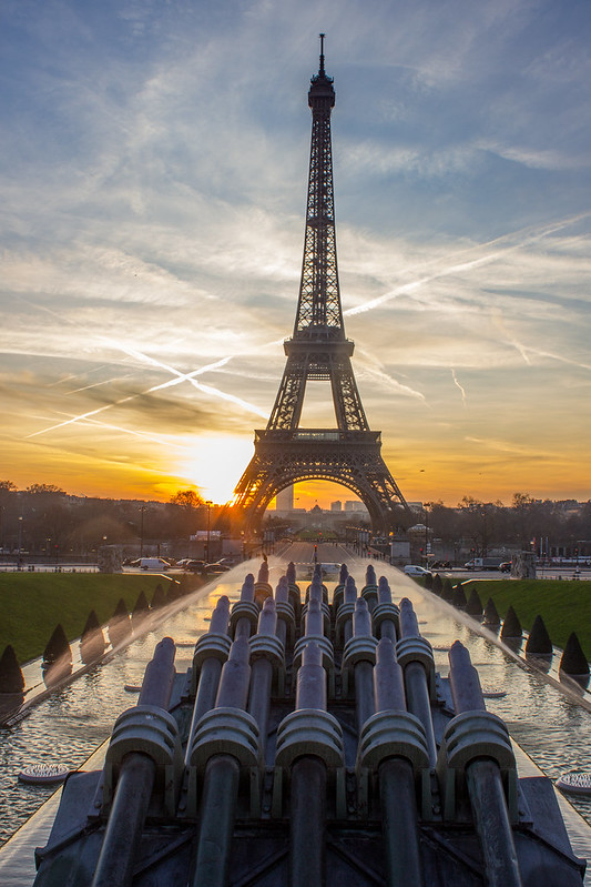 Sunrise behind the Eiffel Tower, Paris