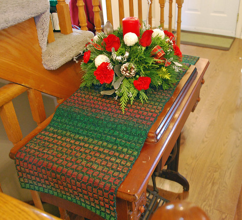 Handspun woven Christmas overshot table runner by irieknit