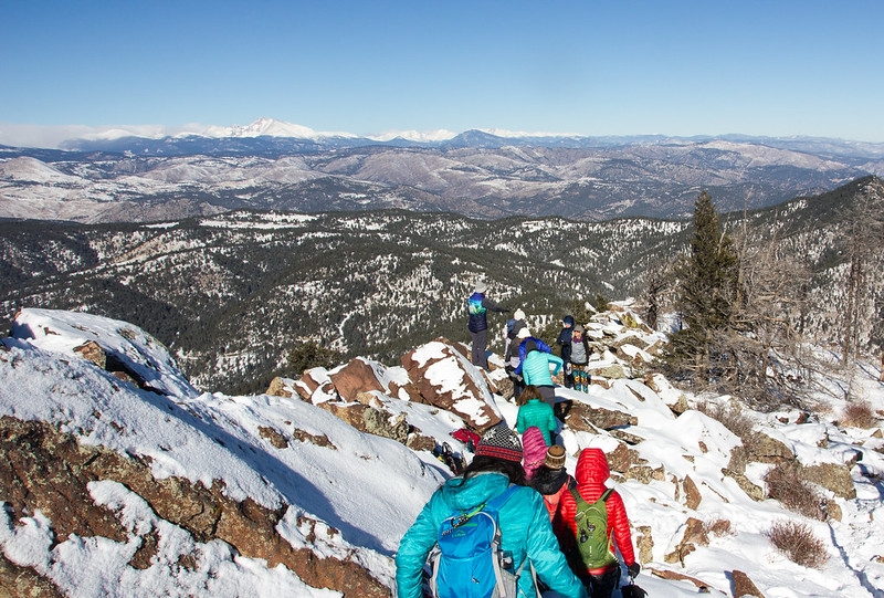 Winter hiking down South Boulder Peak