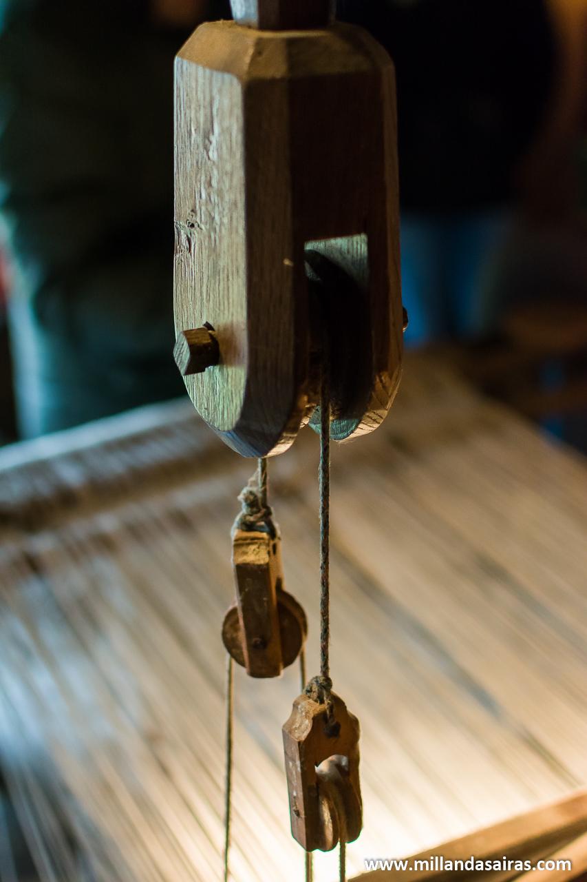 Sistema de poleas del telar