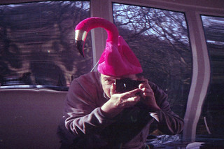 reflected self-portrait with Haniex 35 hs camera and flamingo hat