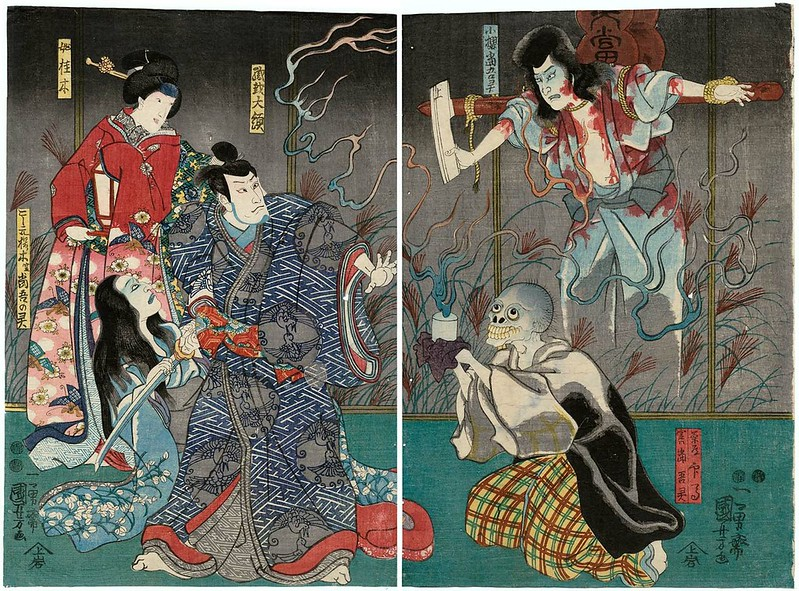 Utagawa Kuniyoshi - Actors Ichikawa Kodanji IV as the Ghost of Kozakura Tôgô, 1851