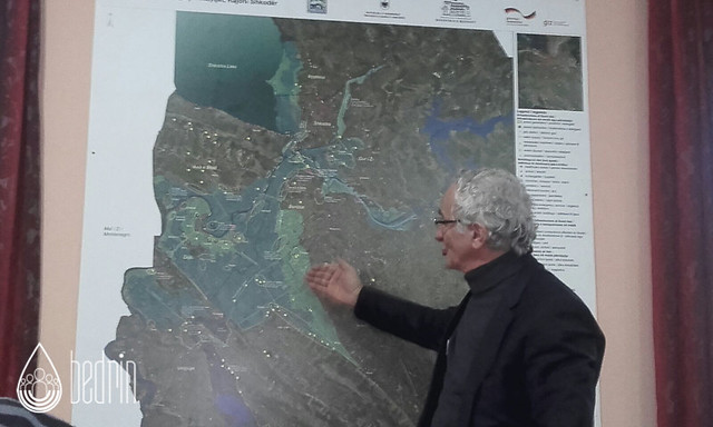 Prefect of Scutari explaining the flood risk scenario in Scutari prefecture, surrounded by Buna and Drini rivers and Scutari lake